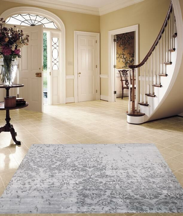 Modern Hand-Knotted Silk Gray Area Rug
