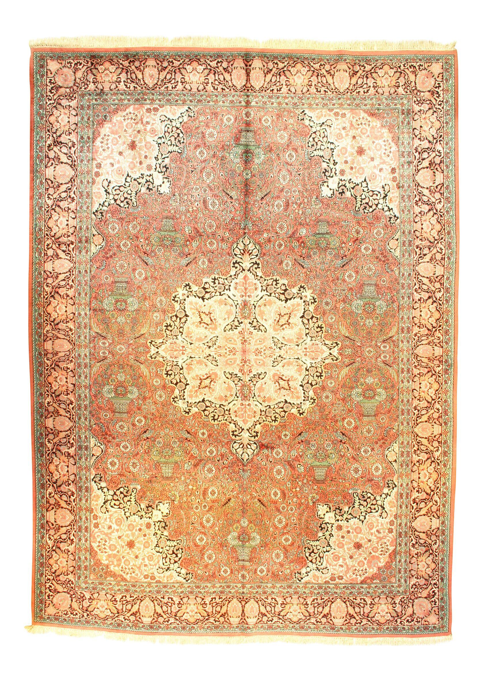 Tabriz Hand-Knotted Silk Rust Area Rug