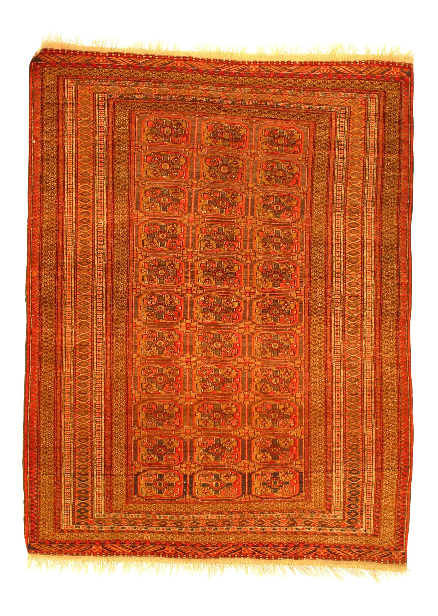 Antique Tekke Hand-Knotted Wool Rust Area Rug