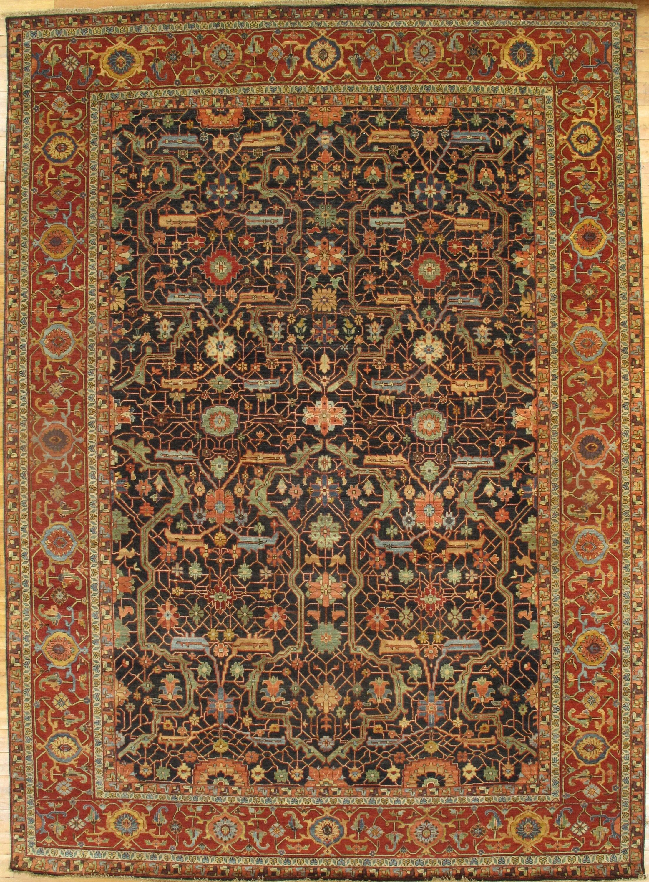 Serapi Hand-Knotted Wool Navy Area Rug