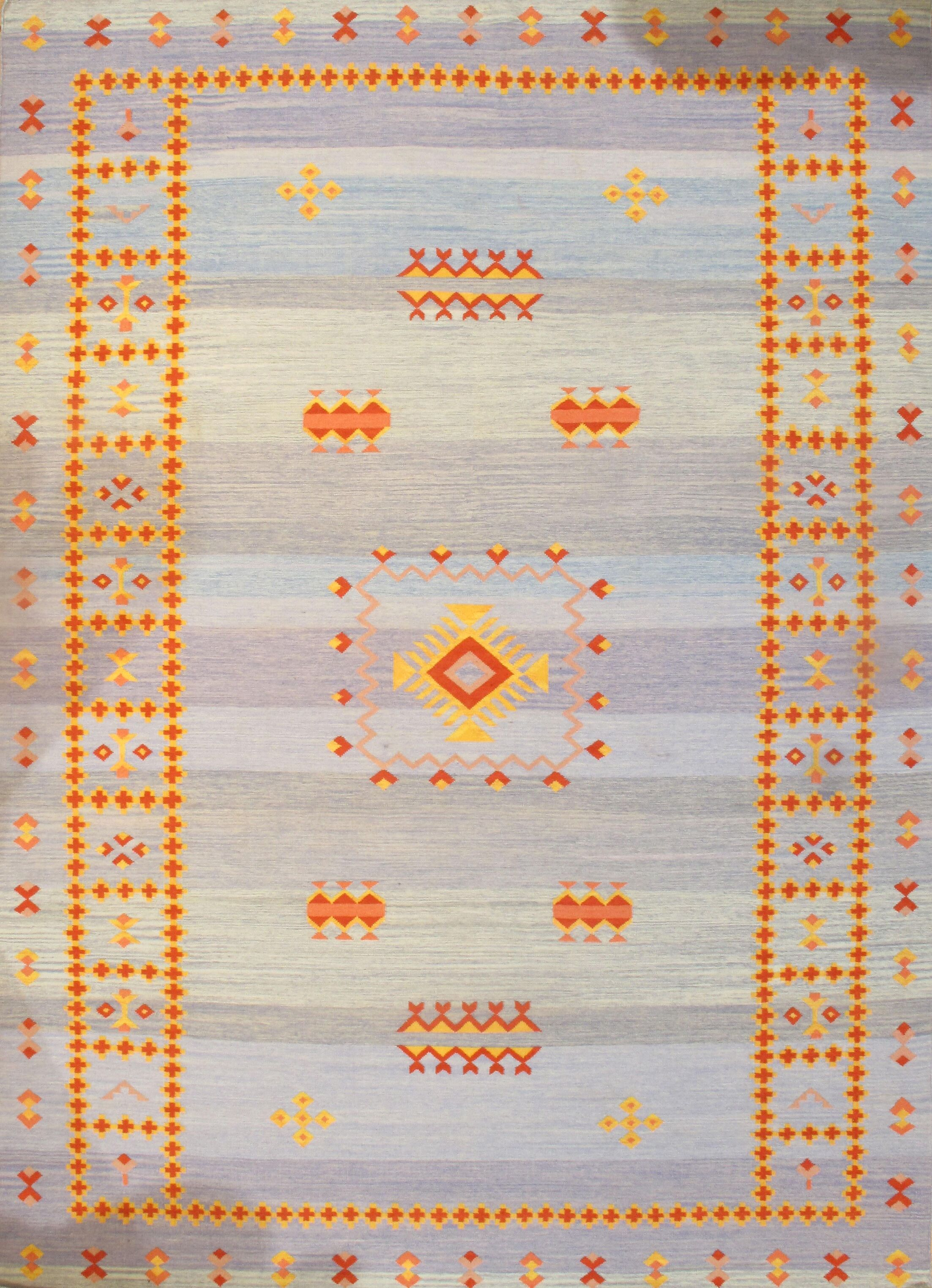 Reversible Kilim Moroccan Hand-Knotted Wool Blue/Yellow/Red Area Rug Rug Size: Rectangle 10' × 14'