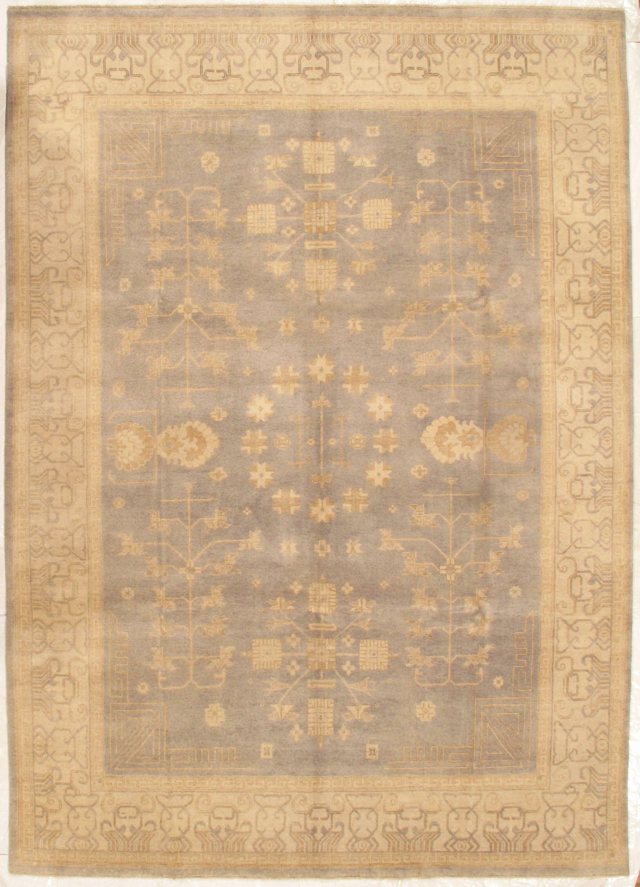 Khotan Hand-Knotted Wool Cream Area Rug