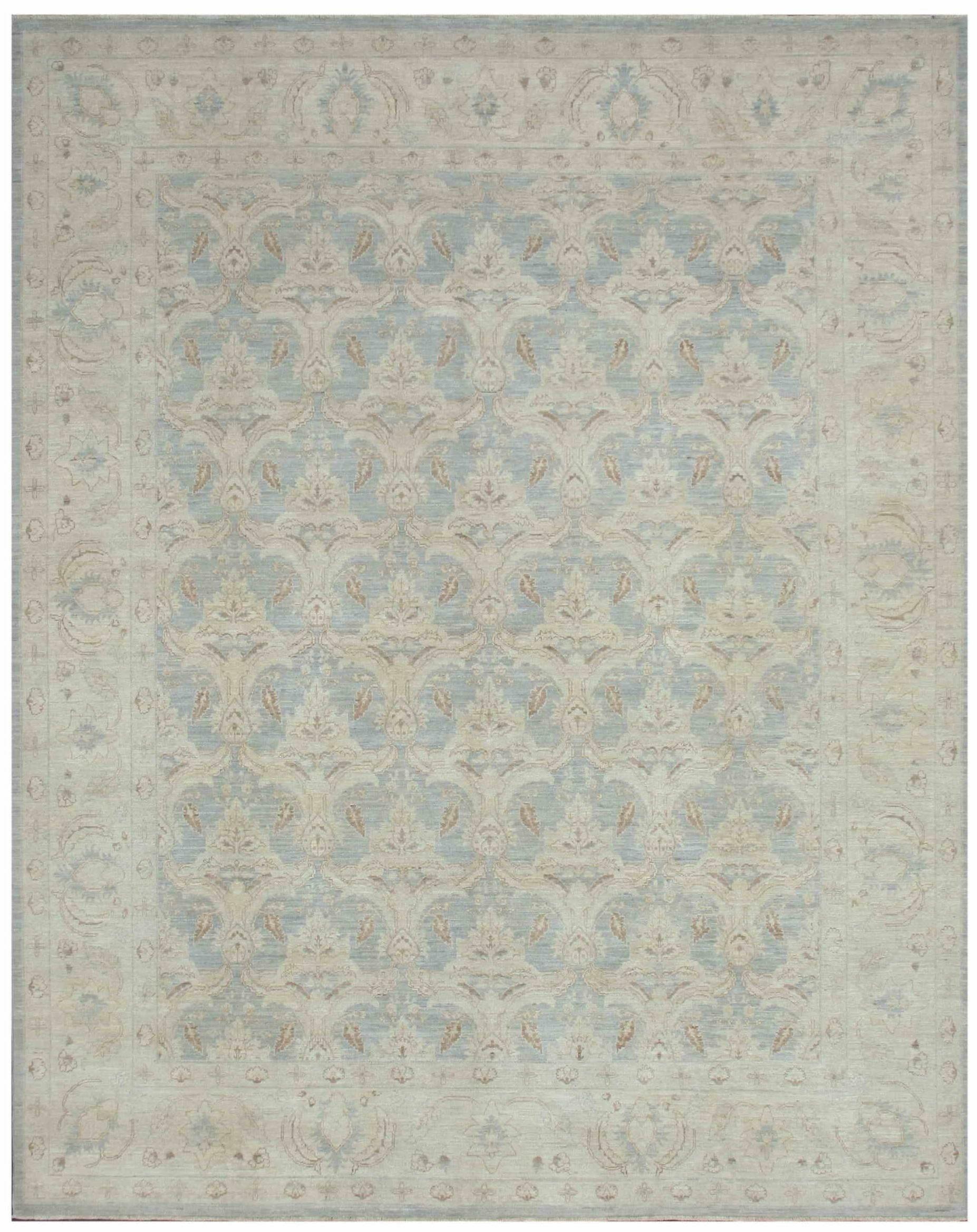 Fine Tabriz Pishavar Hand-Knotted Wool Gray Area Rug