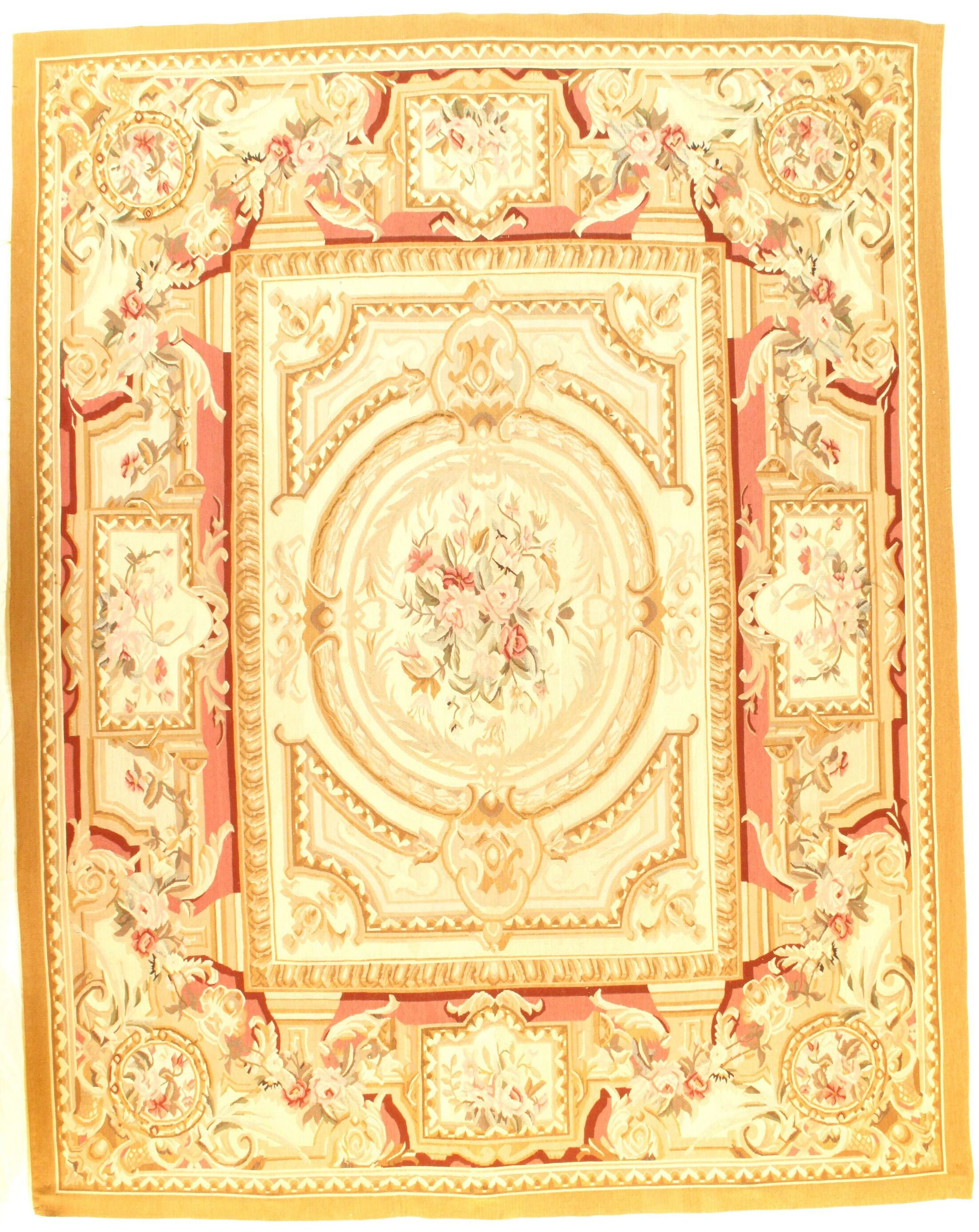 French Aubusson Design Hand-Woven Silk Ivory Area Rug