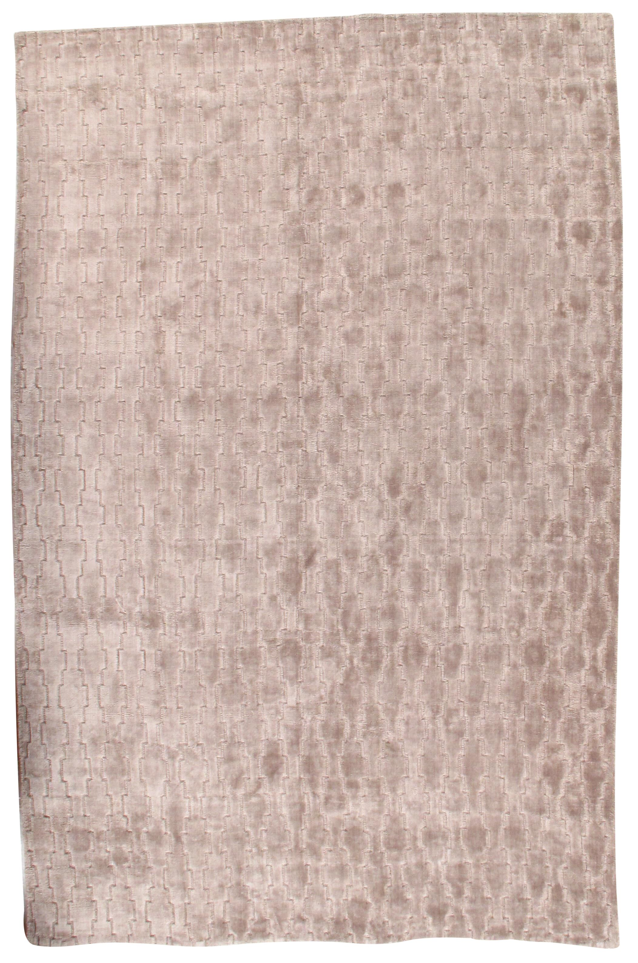 Modern Rayon from Bamboo Hand-Knotted Silk/Wool Beige Area Rug