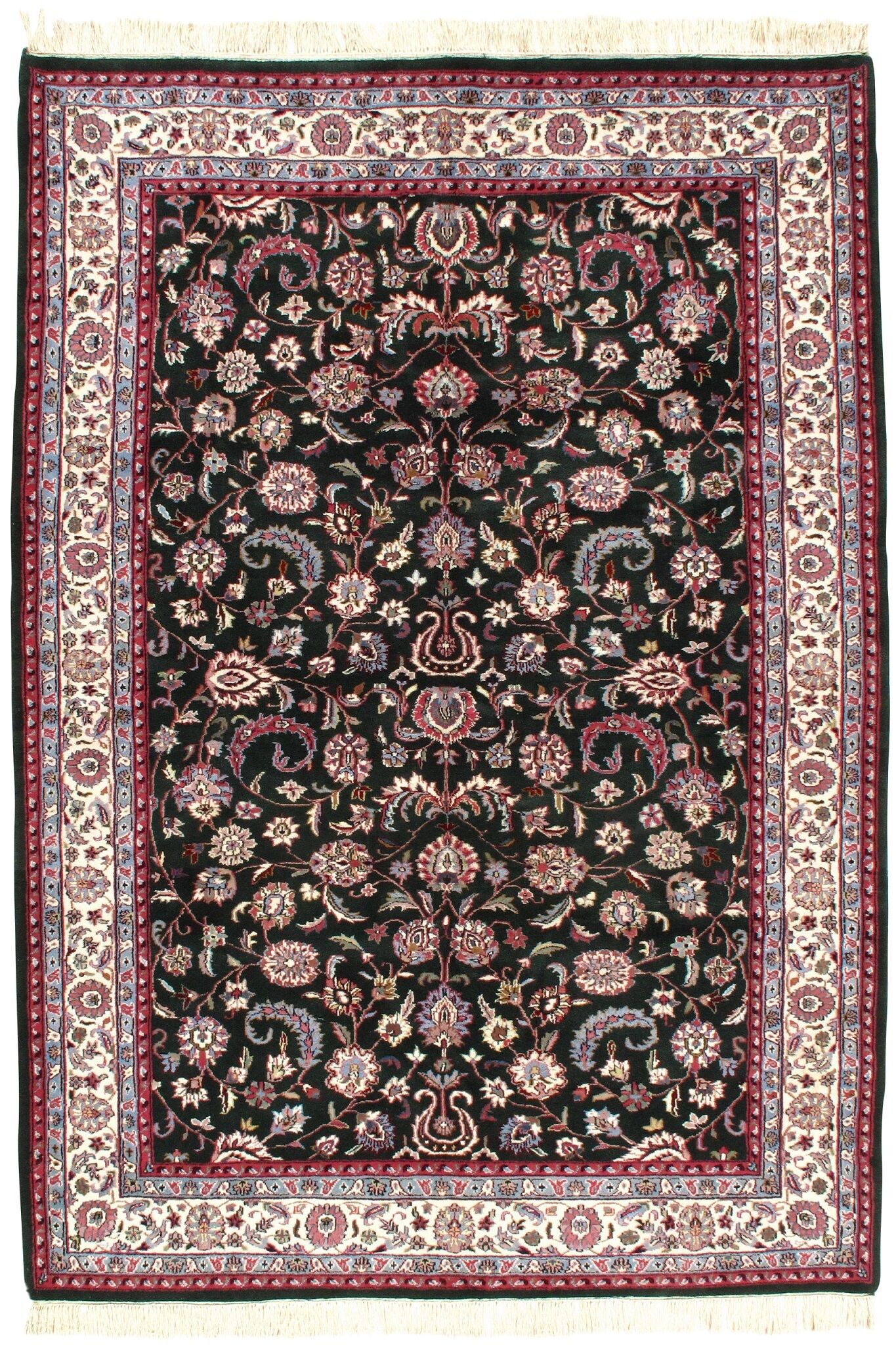Persian Kashan Design Hand-Knotted Silk/Wool Green Area Rug