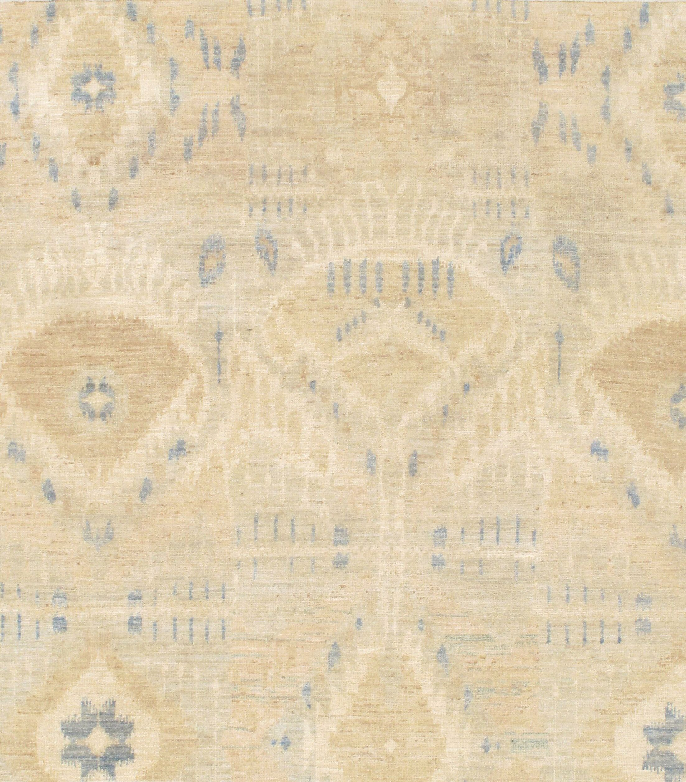 Modern Ikat Design Hand-Knotted Lamb's Wool Beige Area Rug