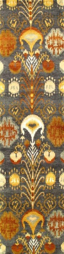 Genuine Modern Ikat Design Hand-Knotted Wool Gray/Yellow/Brown Area Rug