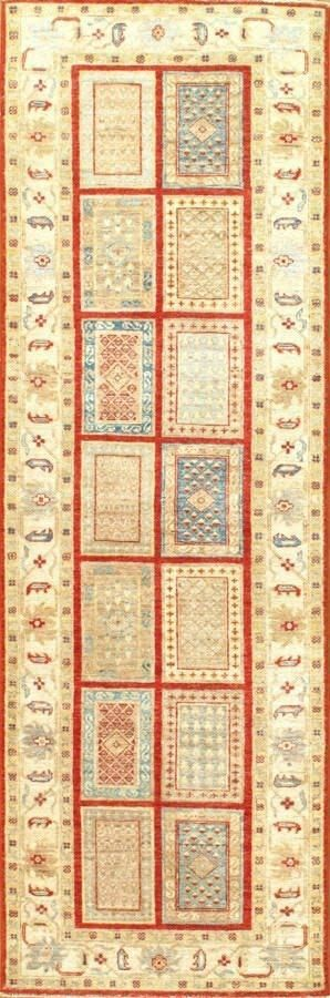 Genuine Tabriz Design Hand-Knotted Lamb's Wool Beige/Red/Blue Area Rug