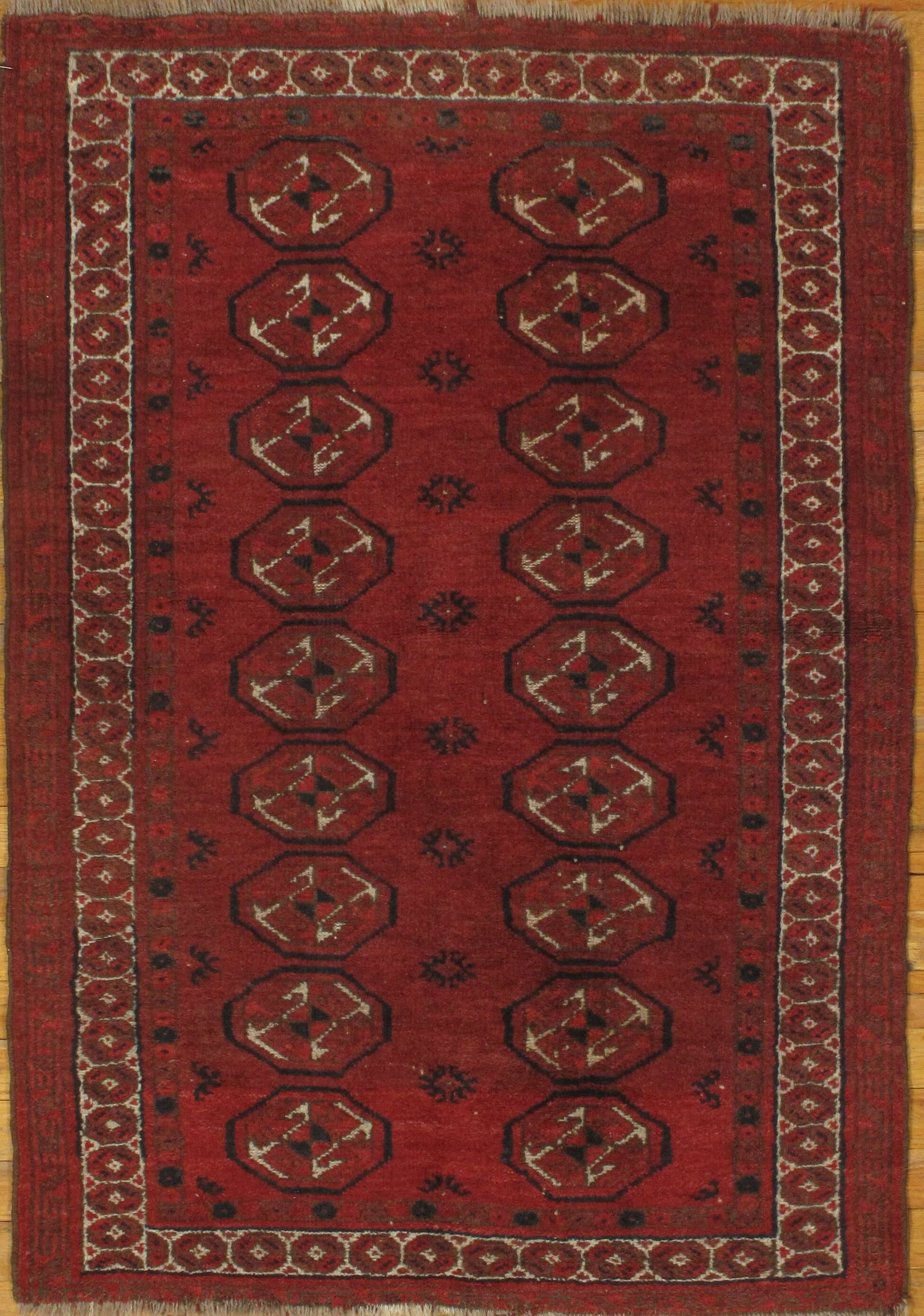 Genuine Antique Afghan Turkmen Hand-Knotted Wool Red Area Rug