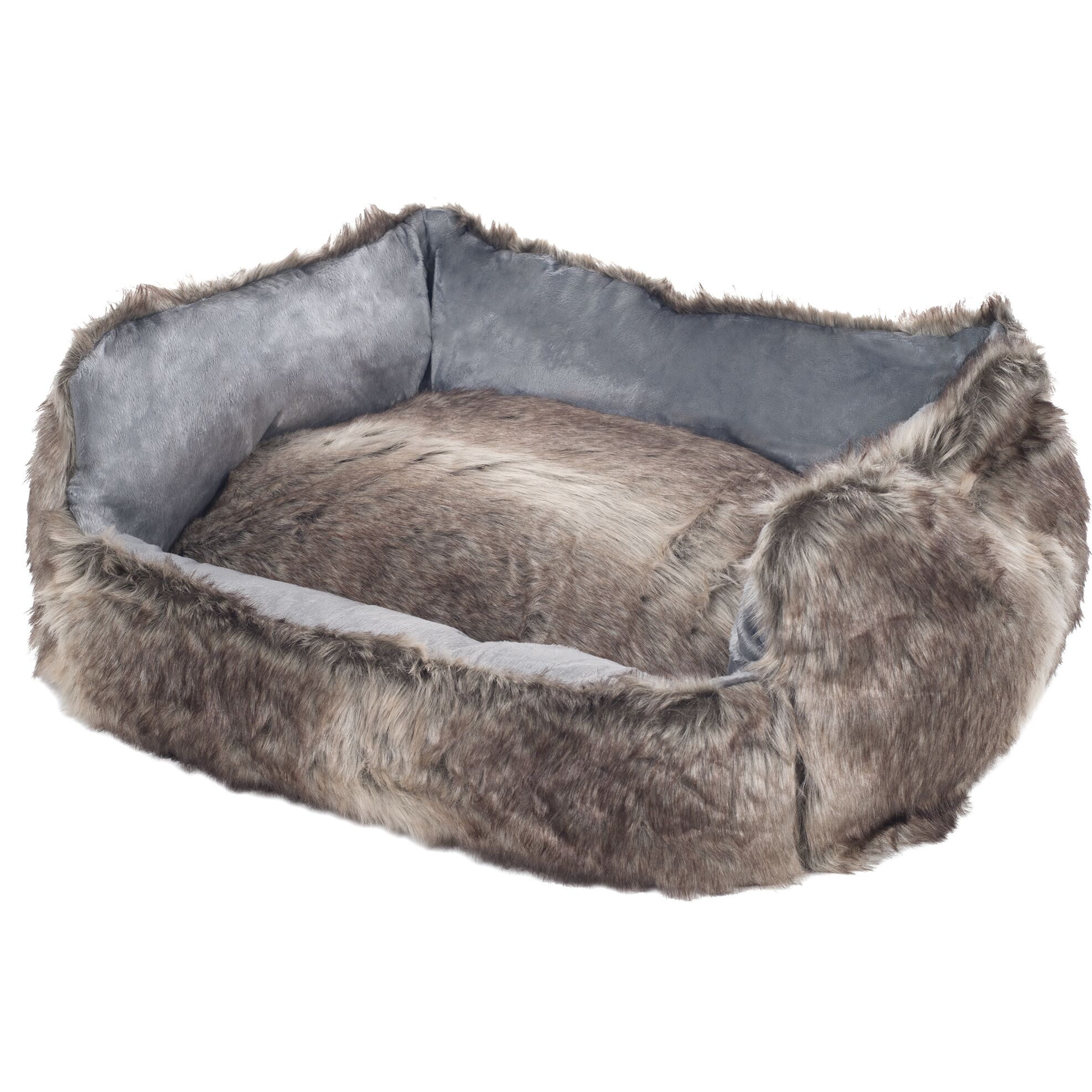 Clarence Faux Fur Dog Bolster with Removable Cover Color: Gray, Size: Large (27