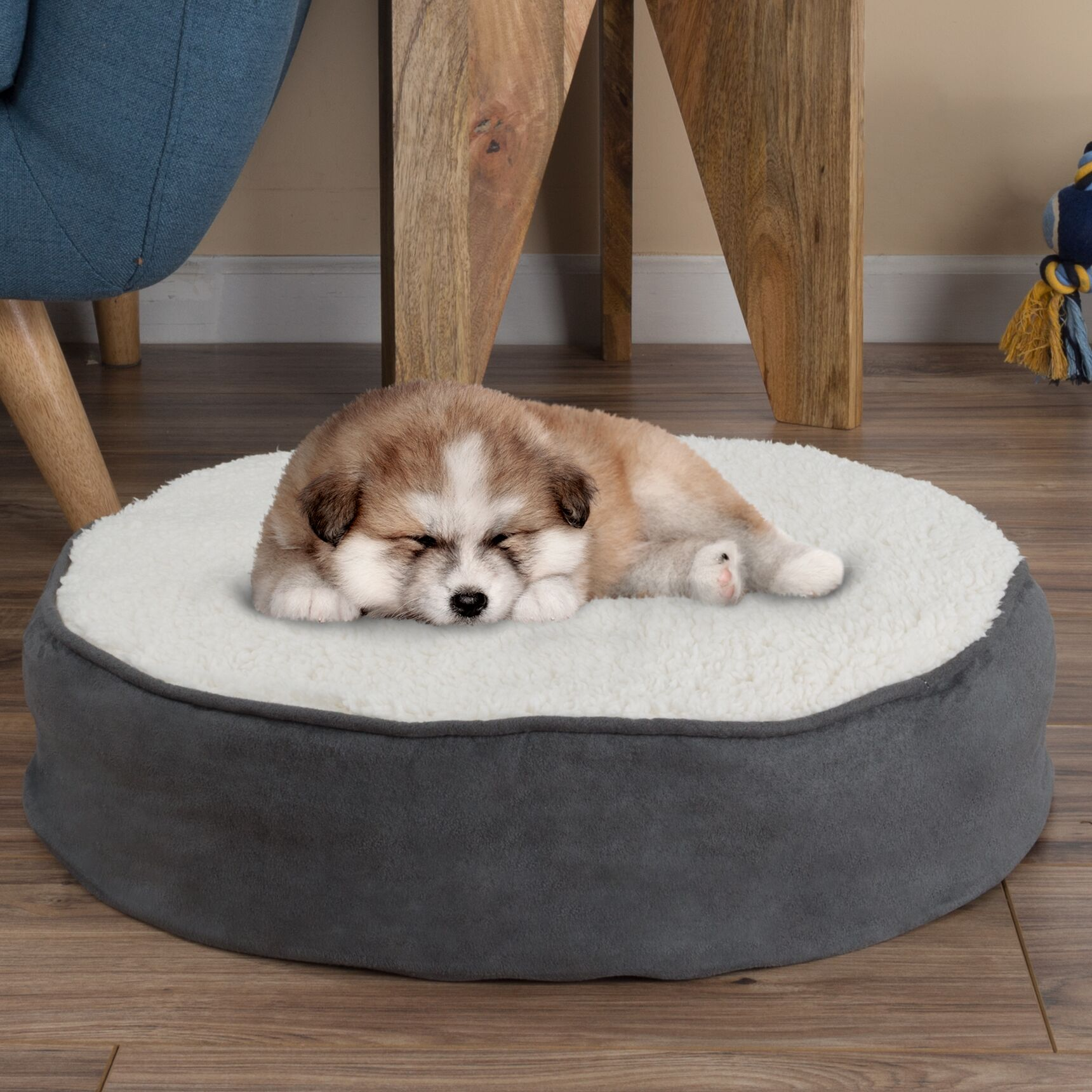Deena Round Sherpa Memory Foam Pet Pillow Color: Gray, Size: Small (20