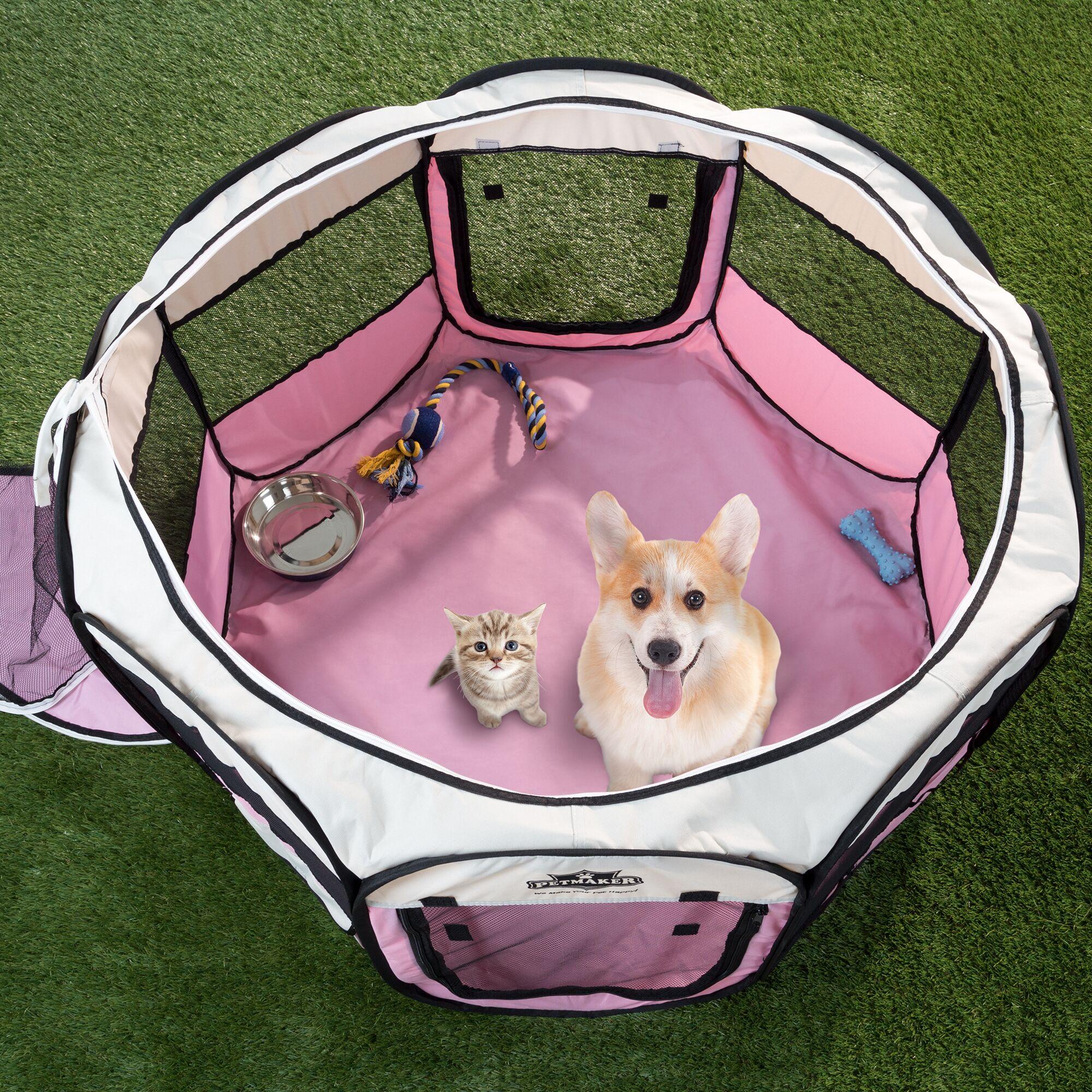 Portable Pop up Play Pet Pen Color: Pink, Size: 15.5