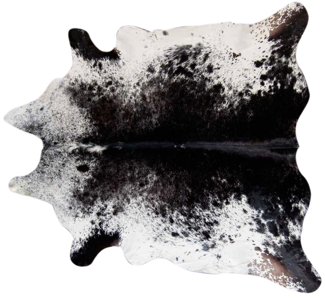 Speckled Hand Woven Cowhide Black/White Area Rug Rug Size: 5'6