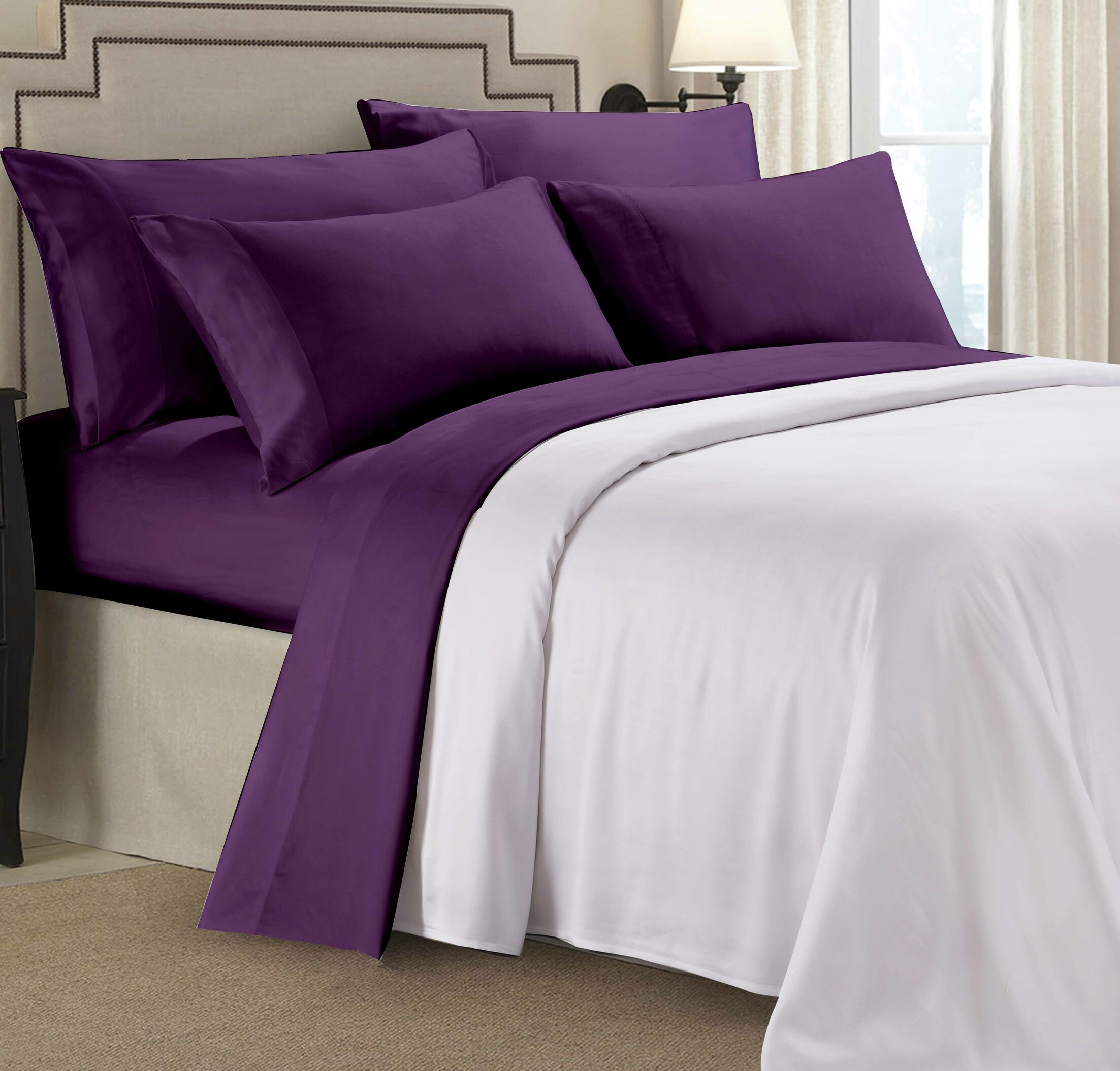 Rayon From Bamboo Sheet Set Color: Purple, Size: Queen