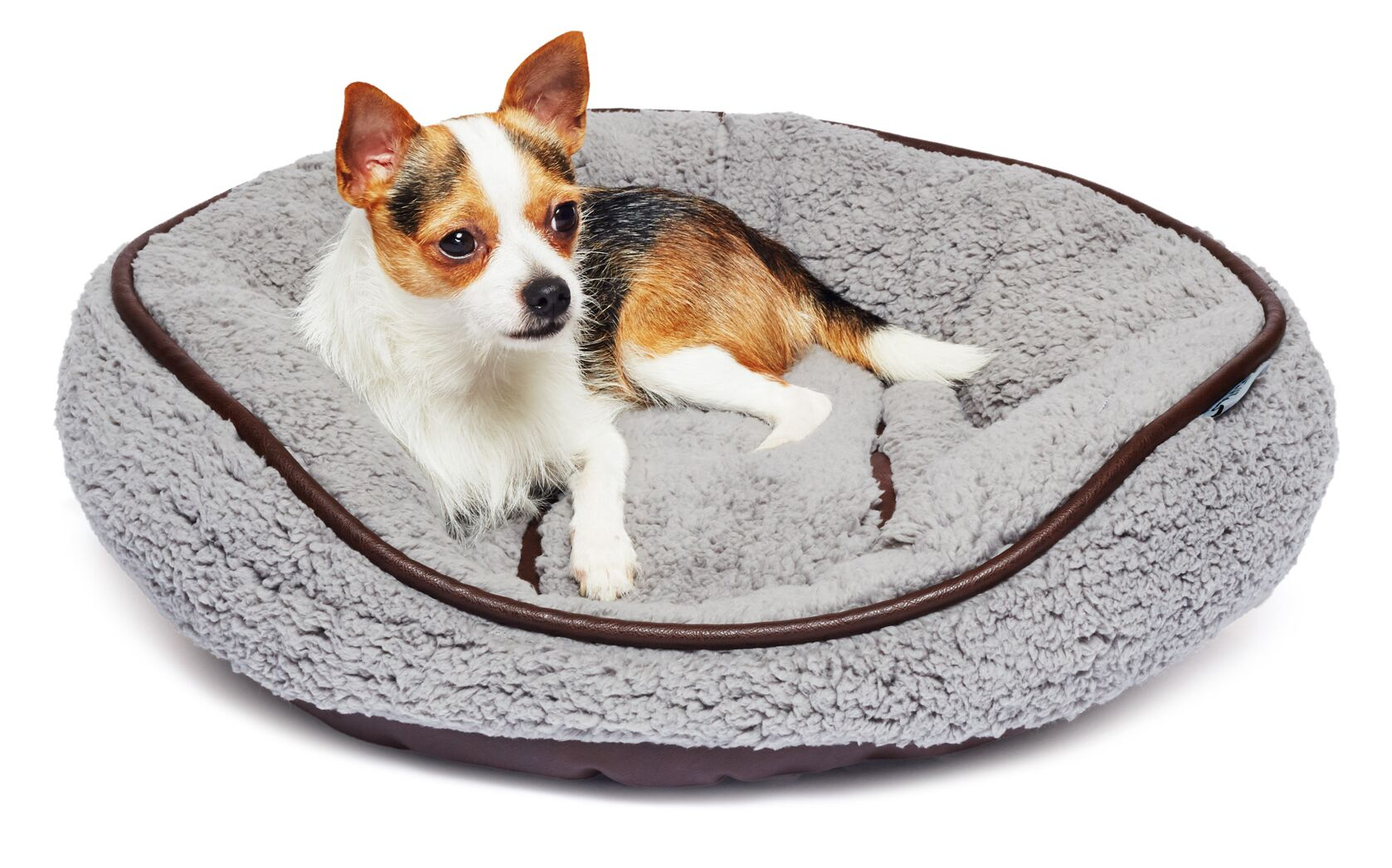 Bukowski Sherpa Round Cuddler Pet Bed Color: Gray/Brown