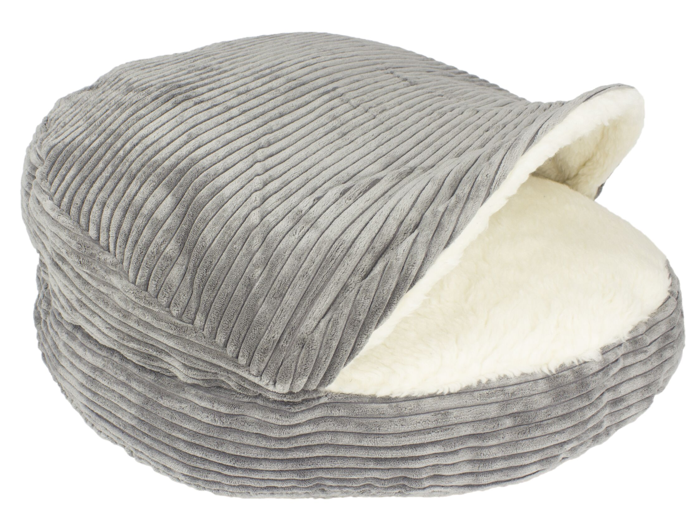 Dorland Cozy Corduroy Sherpa Lined Pet Hooded/Dome Color: Gray