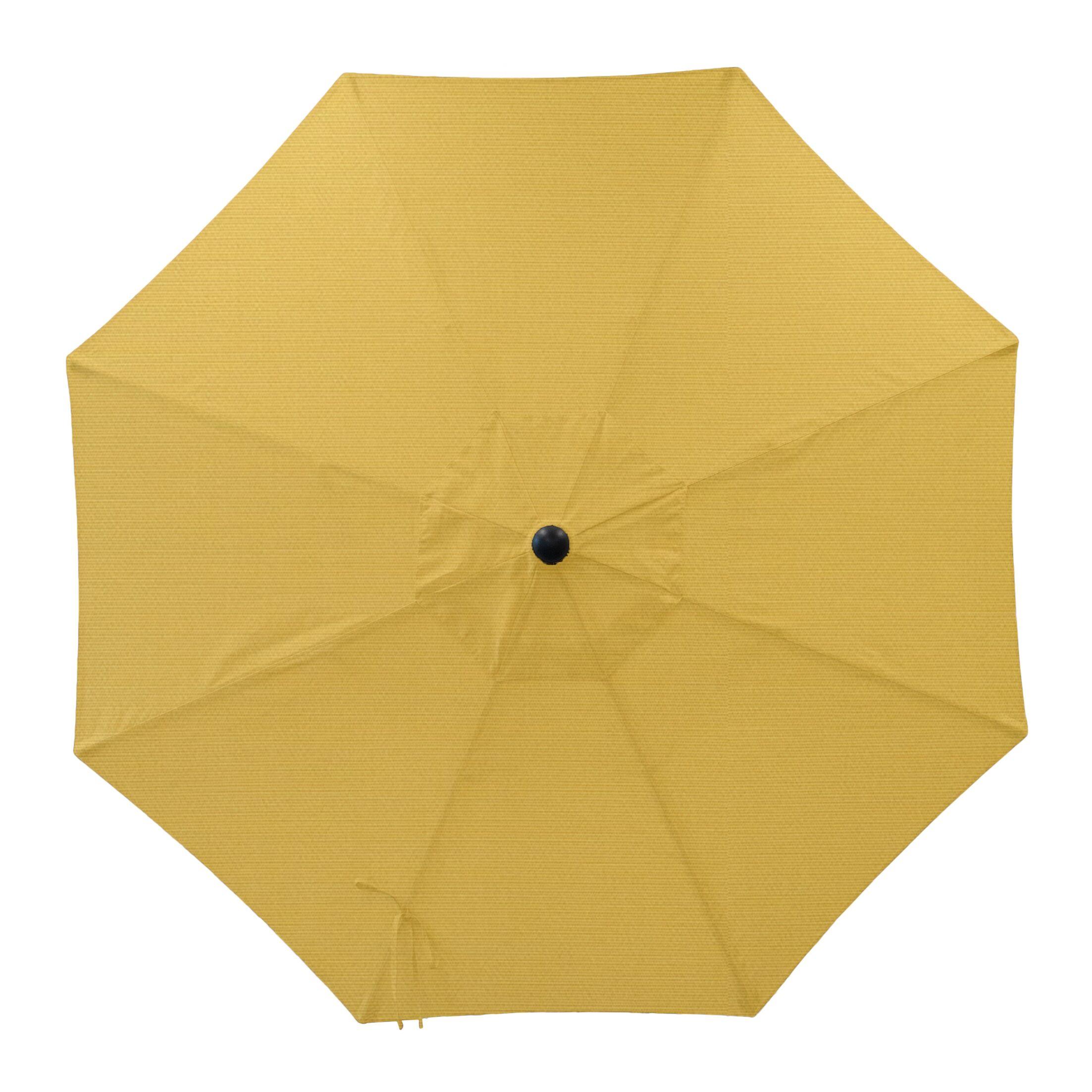 Centeno Double Pulley 9' Market Sunbrella Umbrella Frame Color: Silver Mirror, Fabric Color: Sunflower Yellow