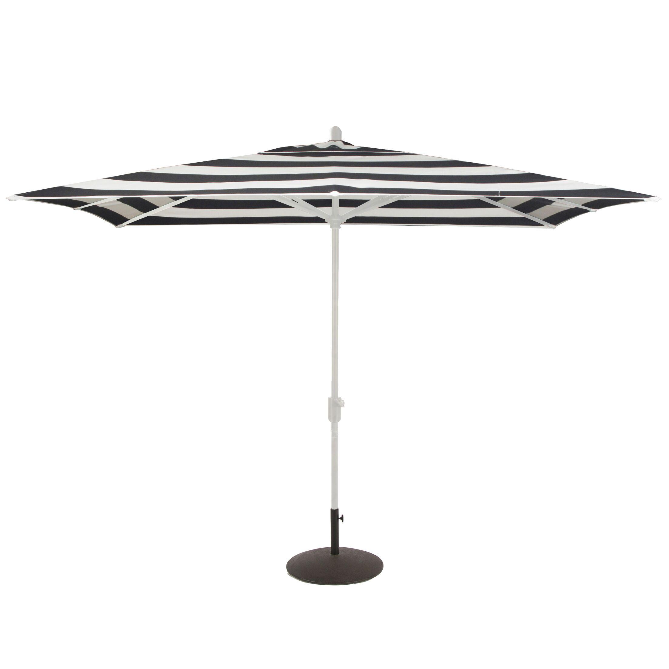 Centers 10' x 6.5' Rectangular Market Sunbrella Umbrella Fabric Color: Black Stripe, Frame Color: White Sand