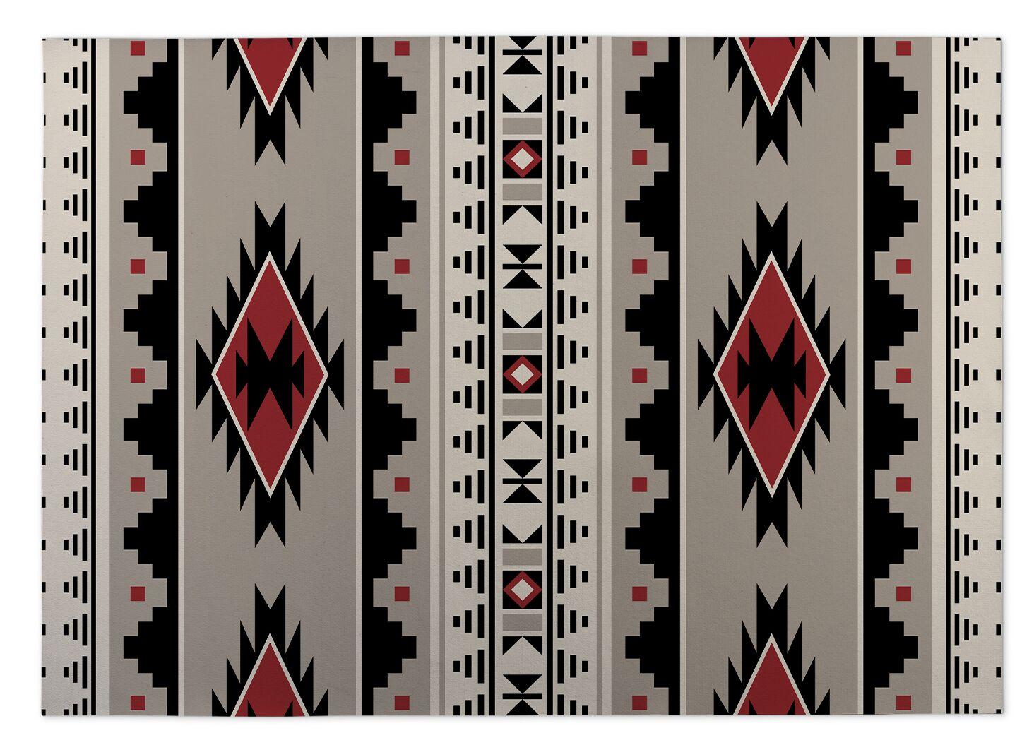 Gray/Red Indoor/Outdoor Doormat Mat Size: Square 8'
