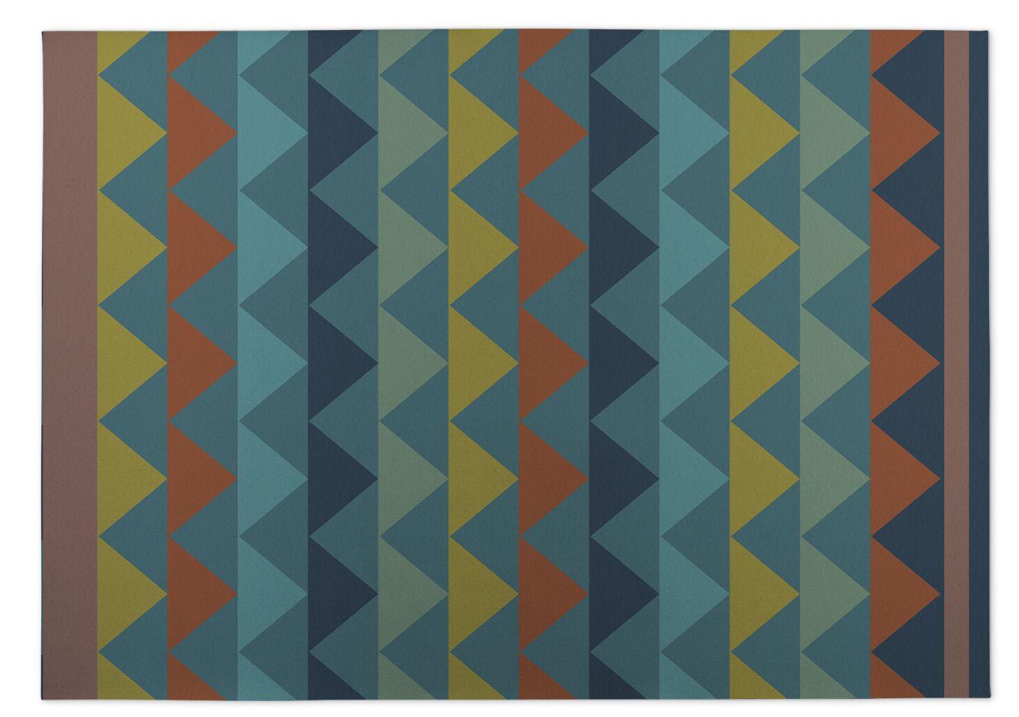 White Caps Orange/BlueYellow Indoor/Outdoor Doormat Mat Size: Rectangle 4' x 5'