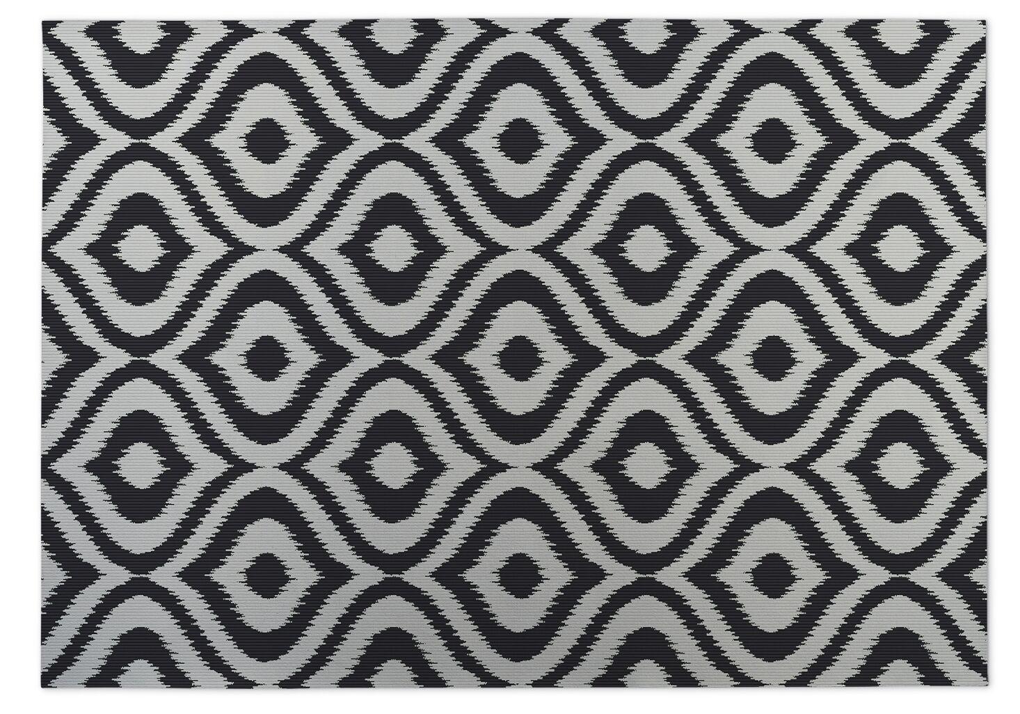 Black/Gray Indoor/Outdoor Doormat Mat Size: Rectangle 5' x 7'