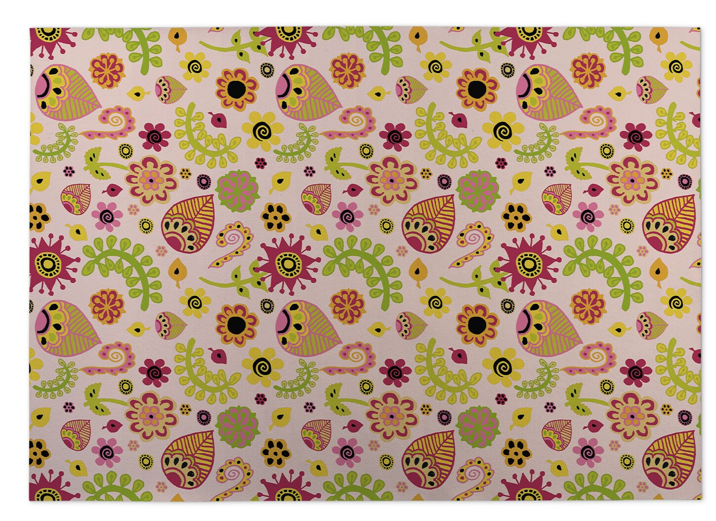 Playland Pink/Green Indoor/Outdoor Doormat Mat Size: Rectangle 4' x 5'