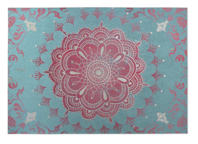 Aqua/Coral Indoor/Outdoor Doormat Mat Size: Square 8'
