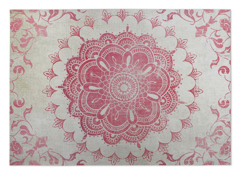 Ivory/Coral Indoor/Outdoor Doormat Mat Size: Square 8'
