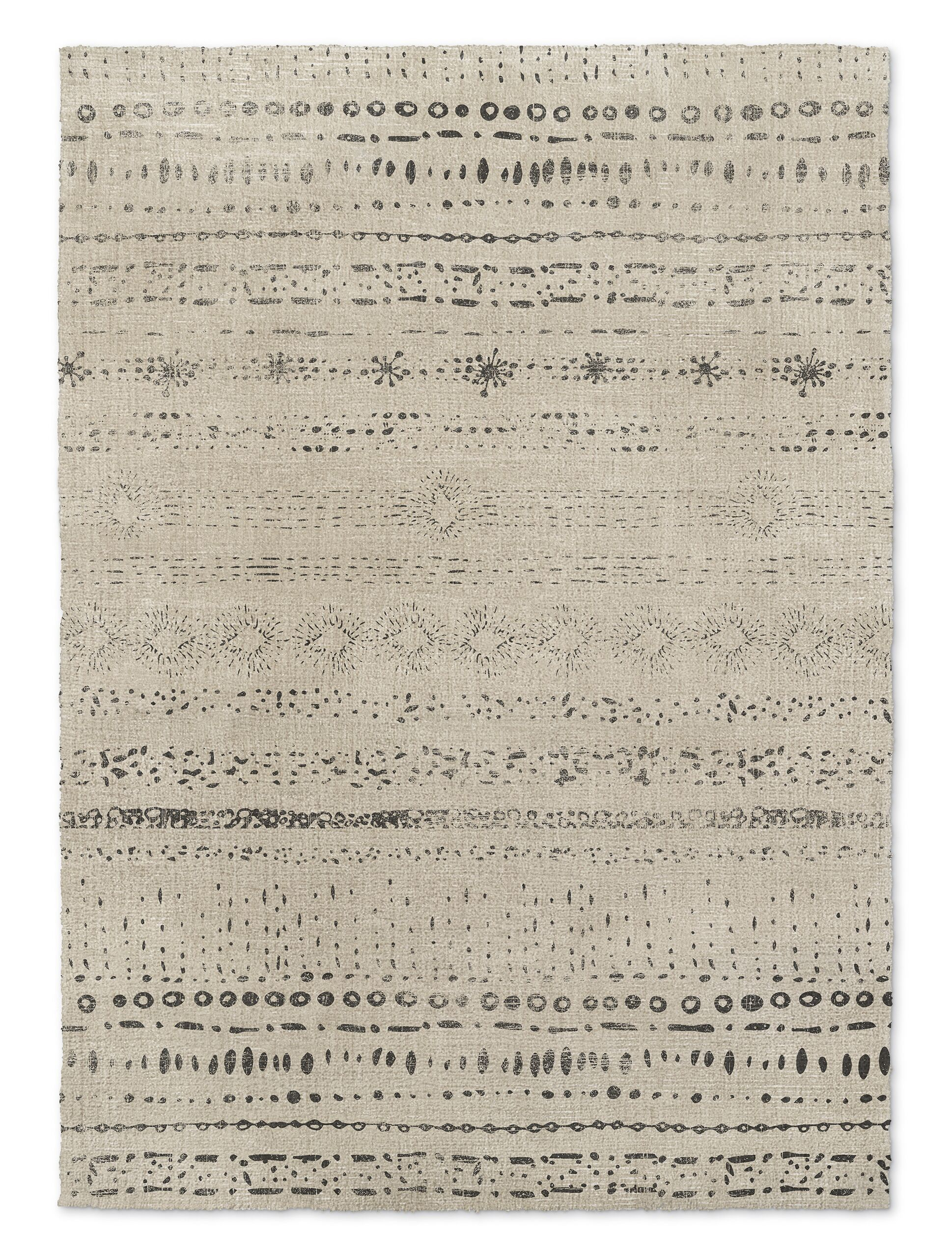 Heliopolis Beige/Black Area Rug Rug Size: Rectangle 2' x 3'