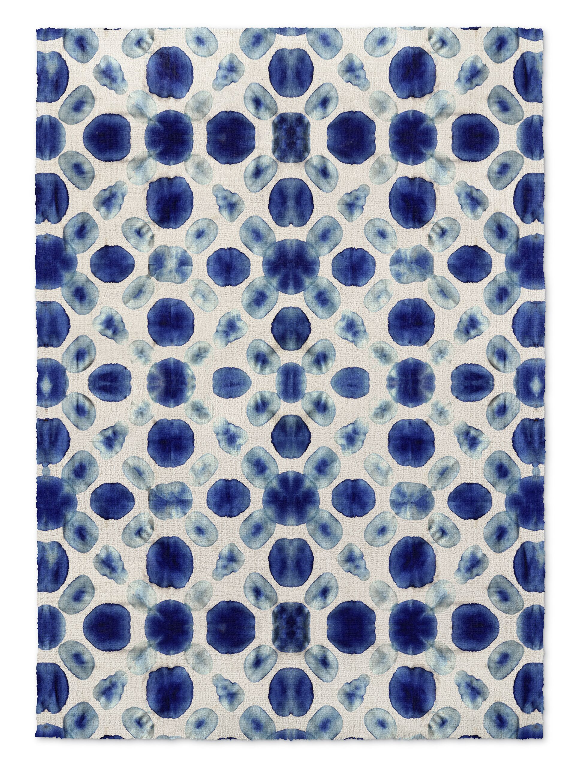 Blue/Cream Area Rug Rug Size: Rectangle 3' x 5'