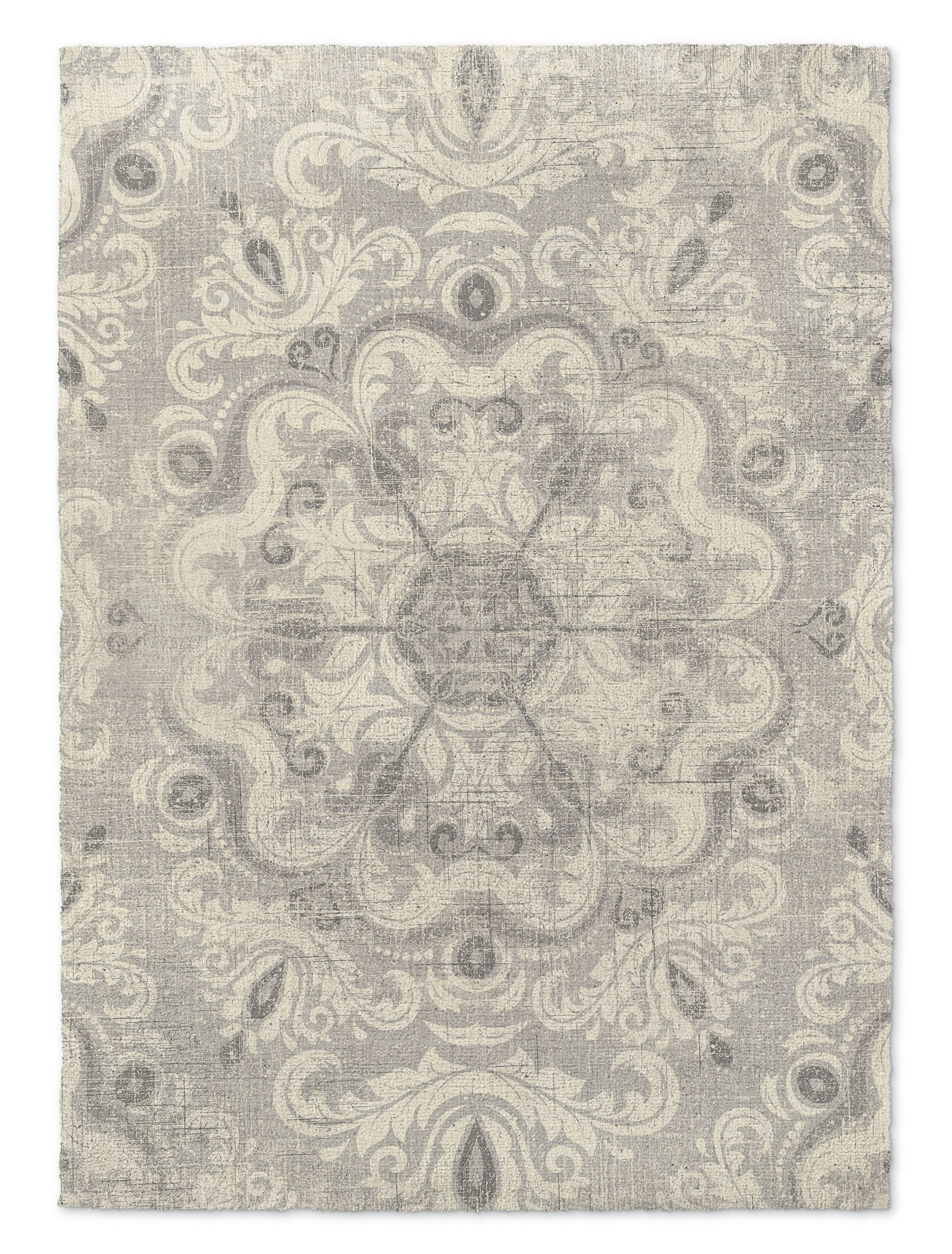 Cream/Gray Area Rug Rug Size: Rectangle 5' x 7'