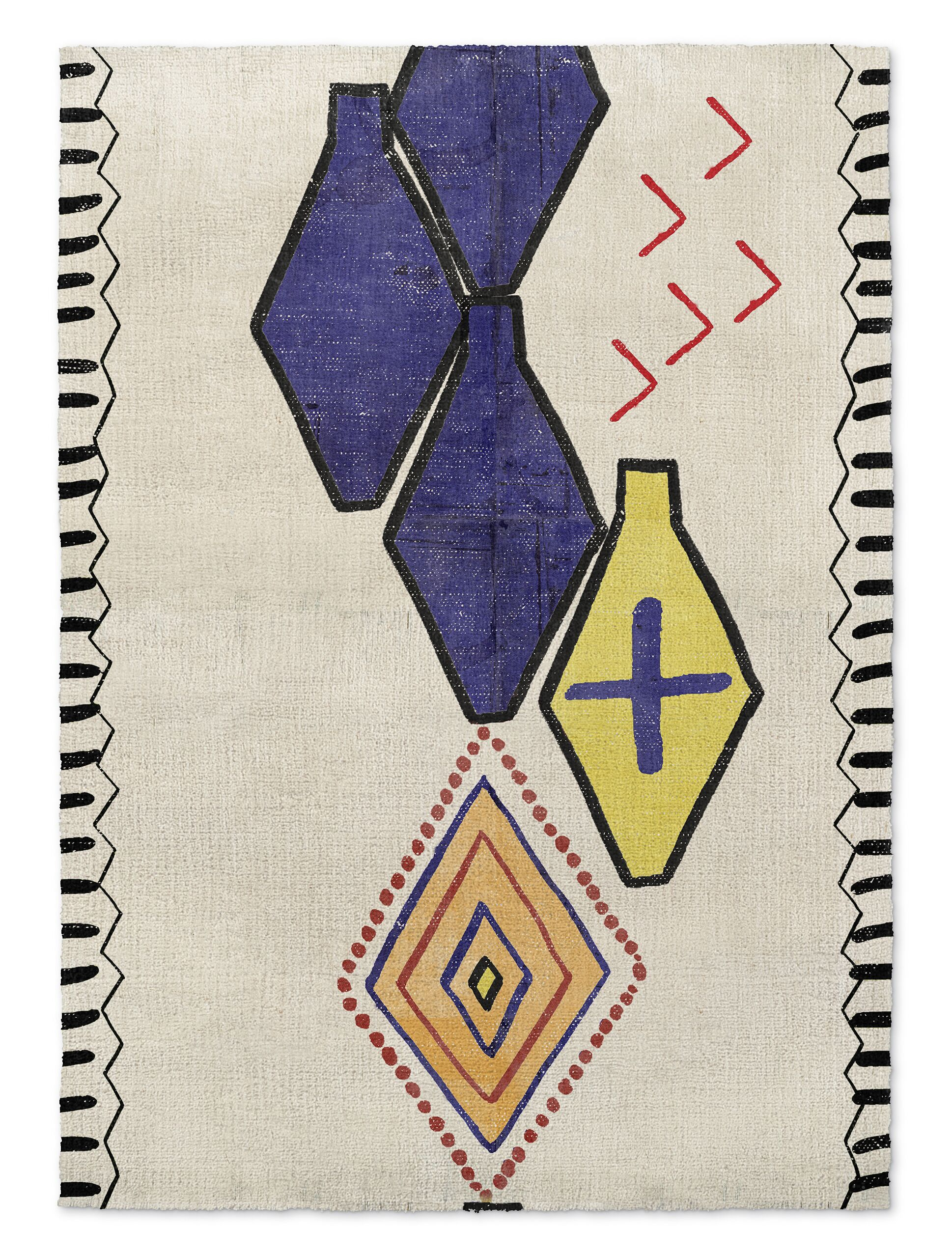 Bousslama Beige/Blue Area Rug Rug Size: Rectangle 8' x 10'