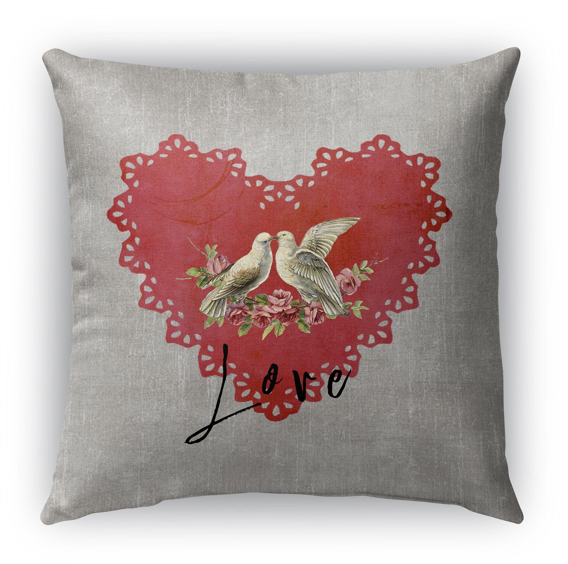 Love Birds 2 Burlap Indoor/Outdoor Throw Pillow Size: 26