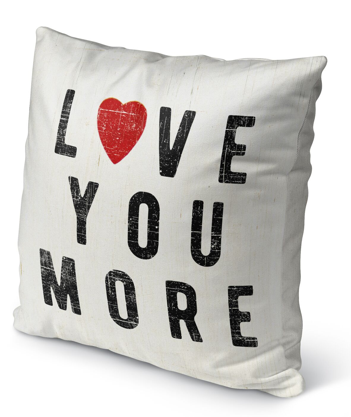 Love You More Burlap Indoor/Outdoor Pillow Size: 26