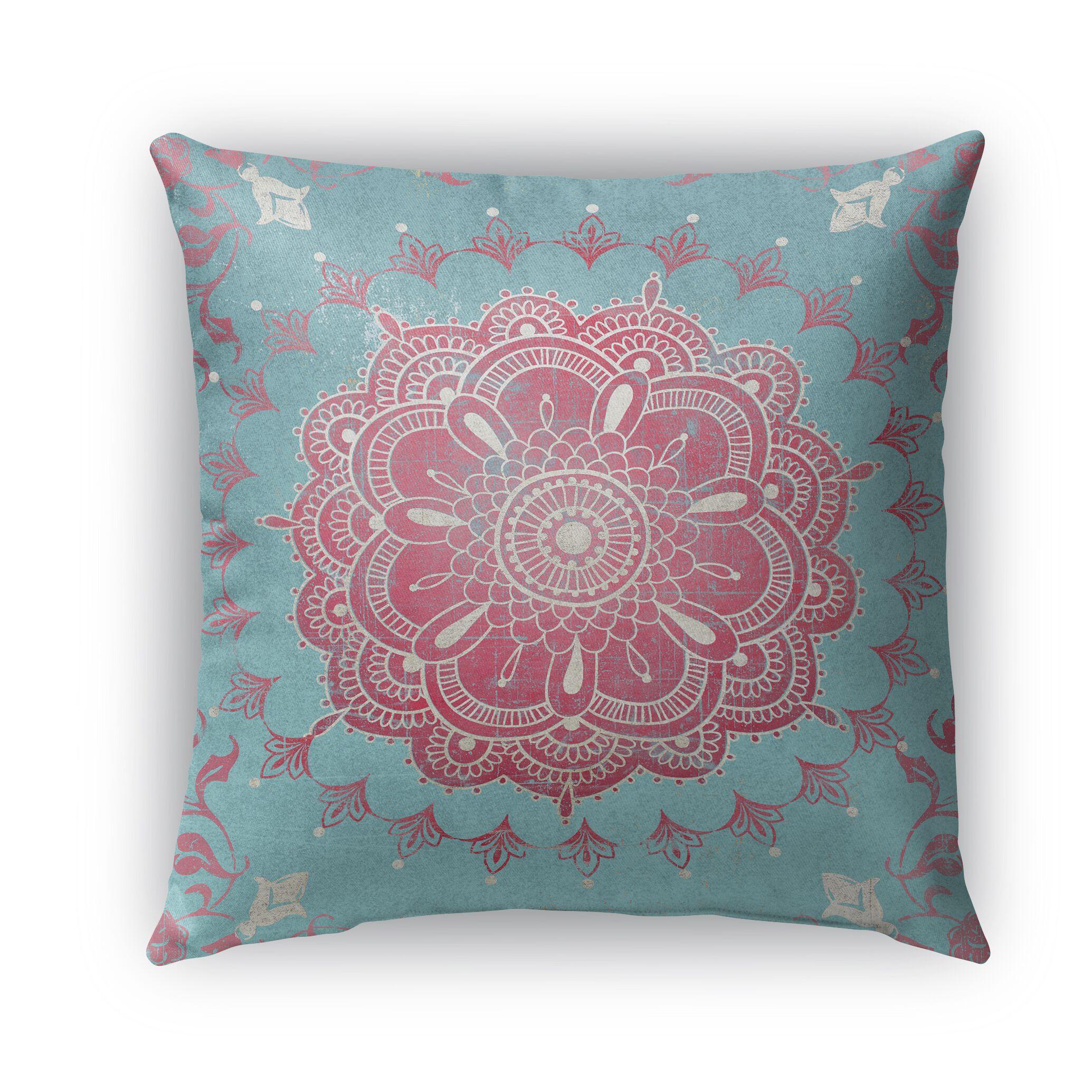 Boho Bloom Burlap Indoor/Outdoor Throw Pillow Size: 26