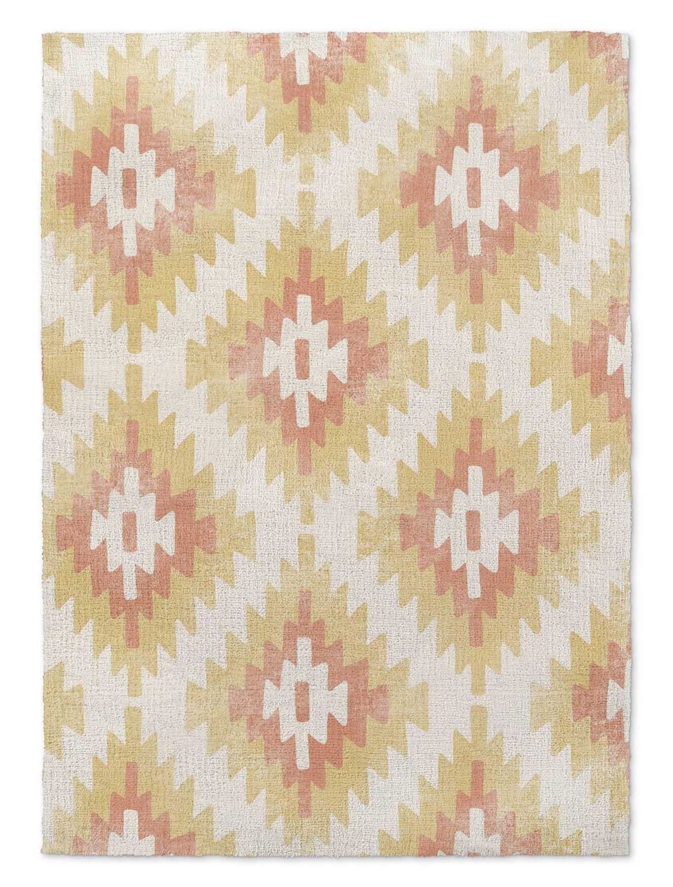 Roberta Cream/Orange/Yellow Area Rug Rug Size: Rectangle 3' x 5'