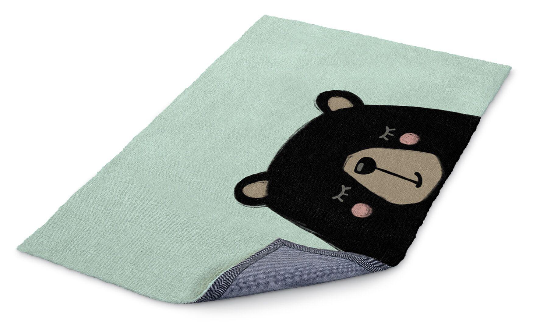Allwood Bear Black/Green Area Rug Rug Size: Rectangle 3' x 5'