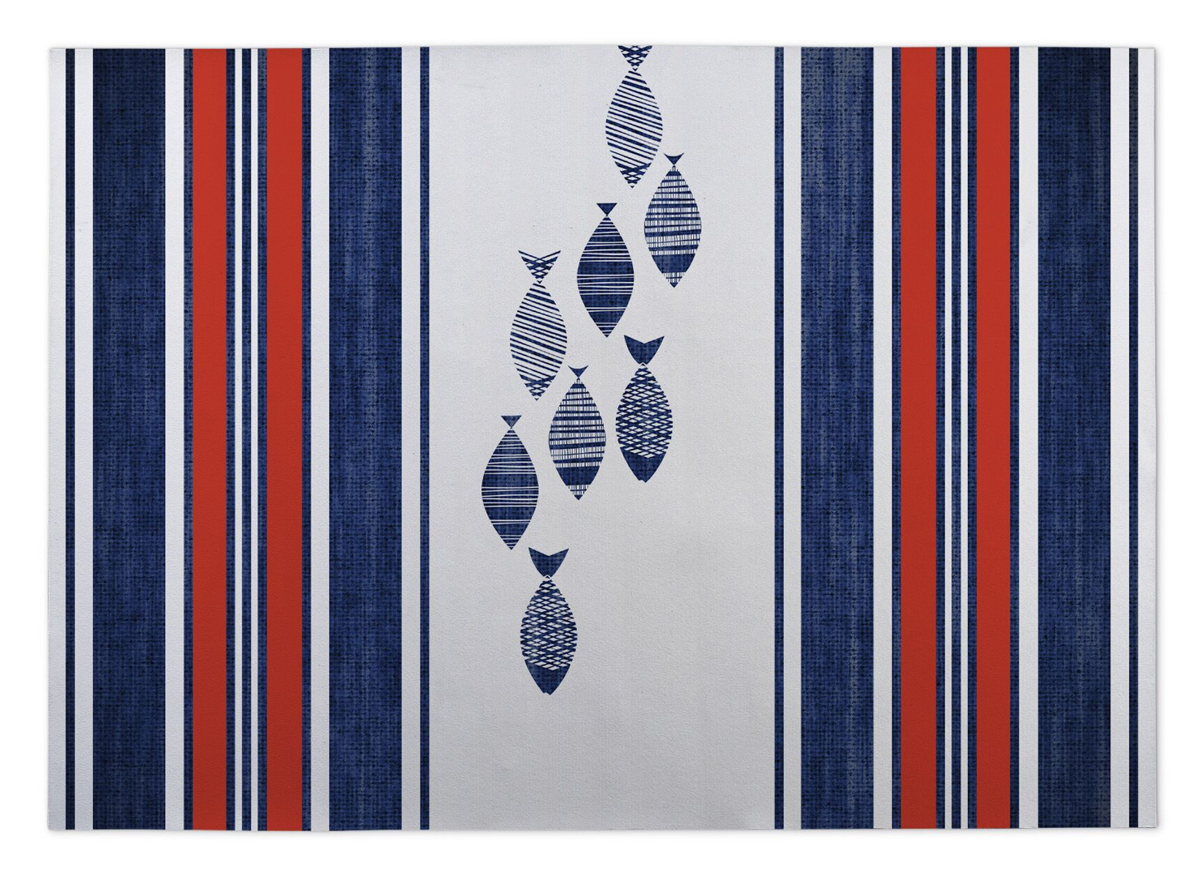 Concord Blue/Red Indoor/Outdoor Area Rug Size: Rectangle 4' x 5'