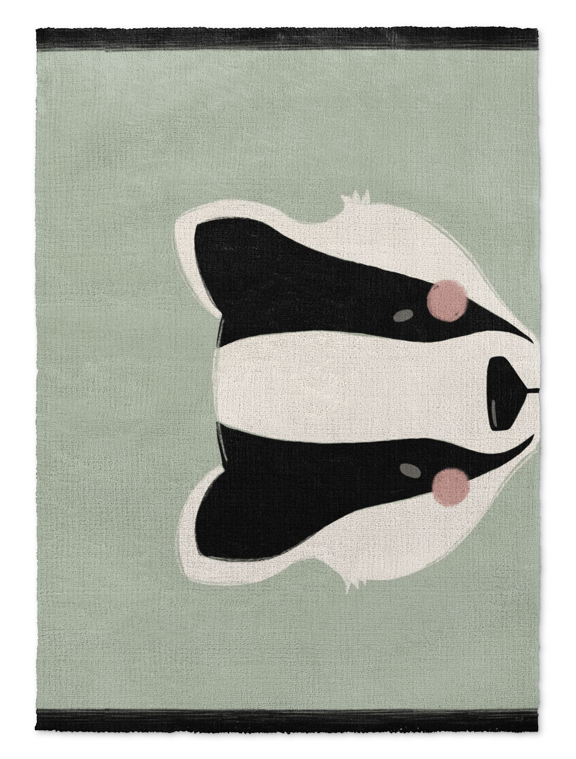 Alluvial Badger Black/White/Green Area Rug Rug Size: Rectangle 5' X 7'