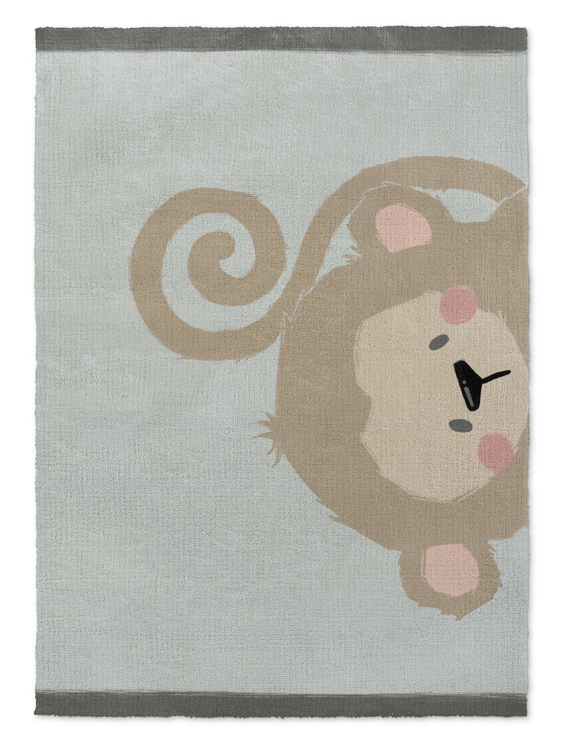 Alsace Monkey Brown/Green Area Rug Rug Size: Rectangle 2' x 3'
