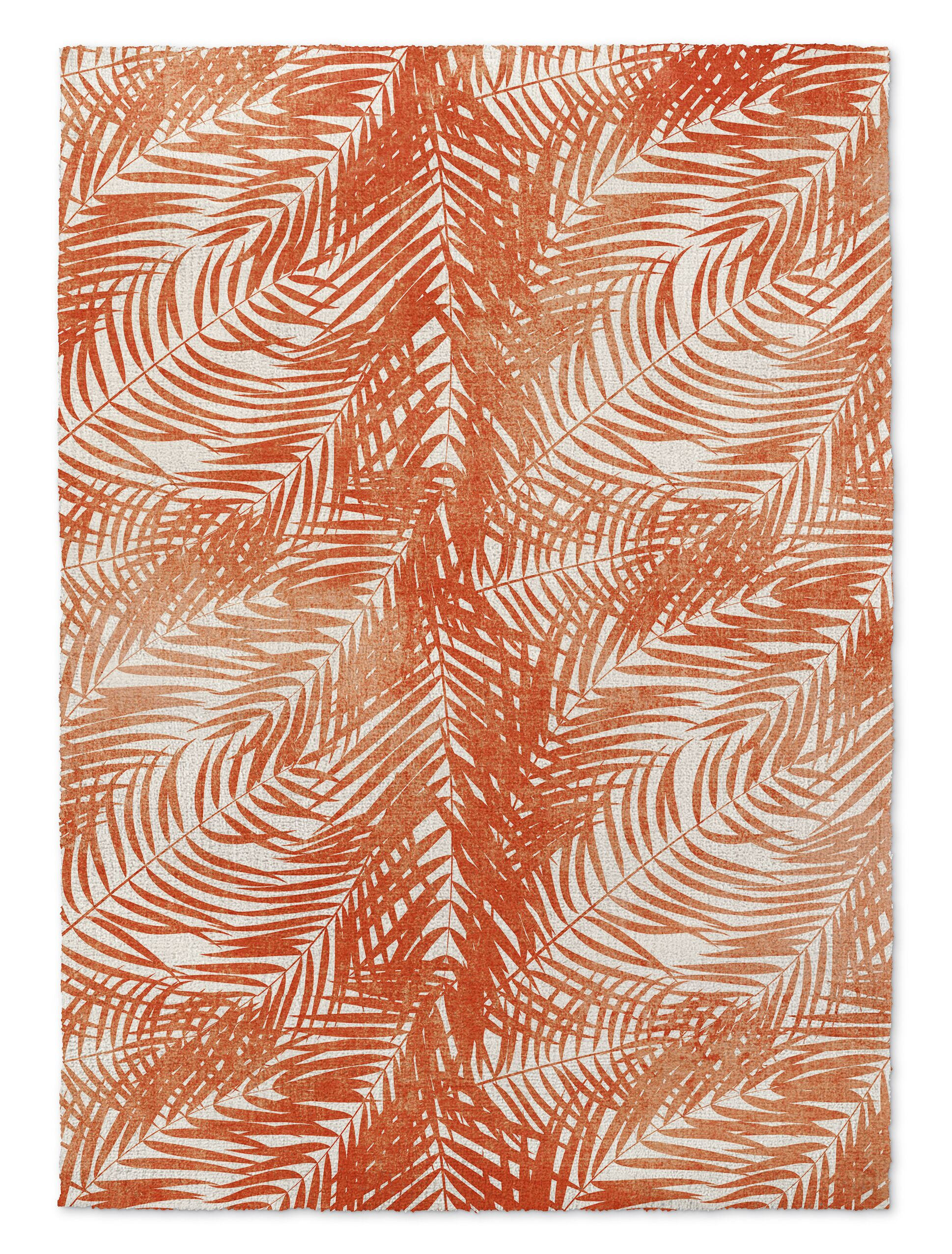 Jacinda Palm Orange Area Rug Rug Size: 5' x 7'