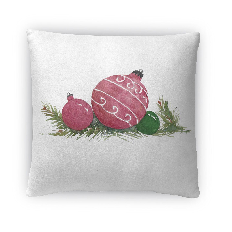 Christmas Balls Outdoor Square Throw Pillow (Set of 10) Size: 16