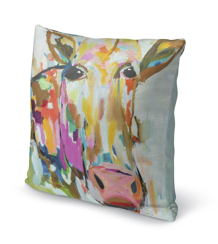 Simonska Moo Throw Pillow Size: 16