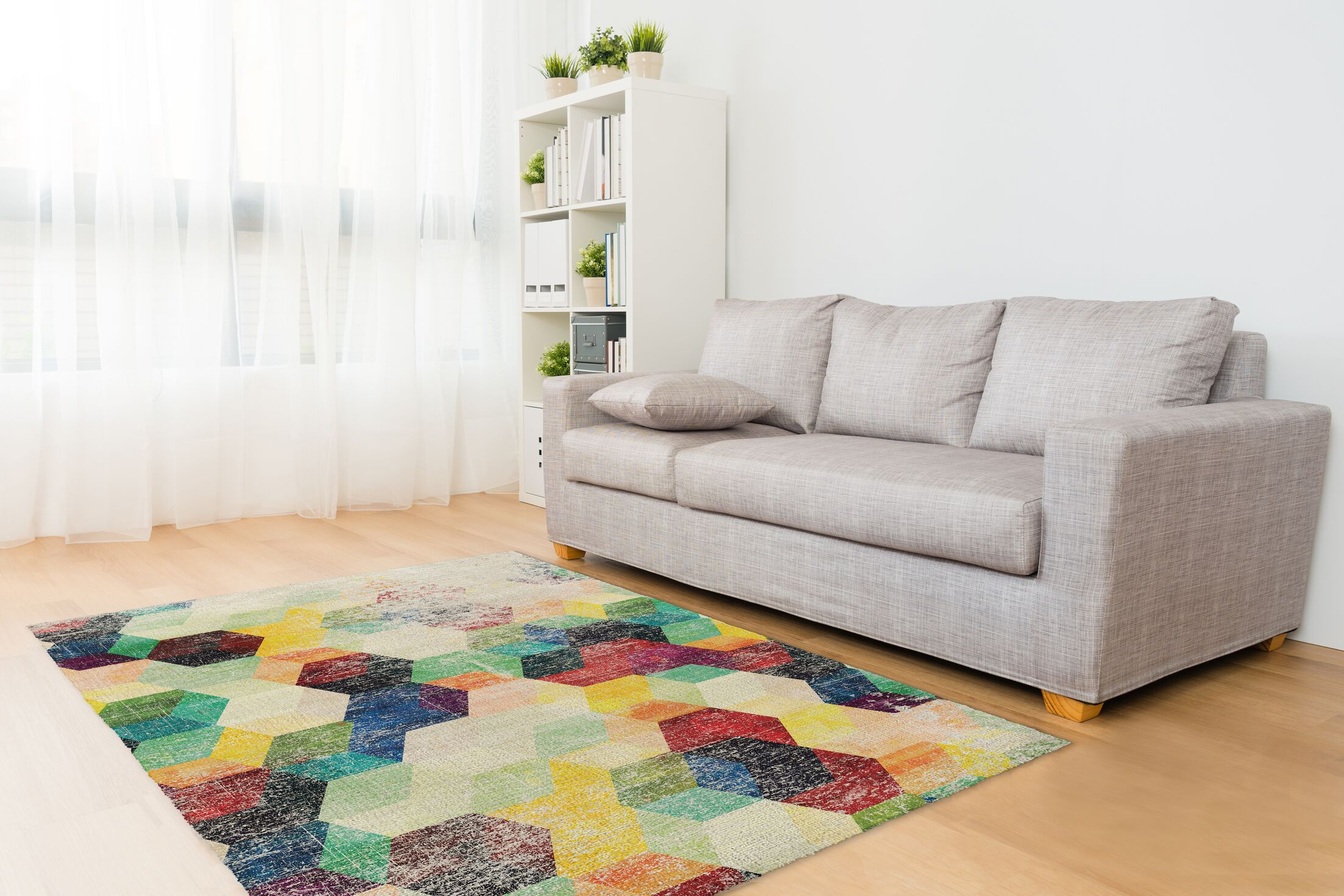 Shakia Distressed Red/Green/Purple Area Rug Size: Rectangle 5' x 7'