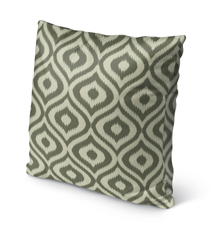 Ikat Ogee Burlap Indoor/Outdoor Throw Pillow Color: Green, Size: 26