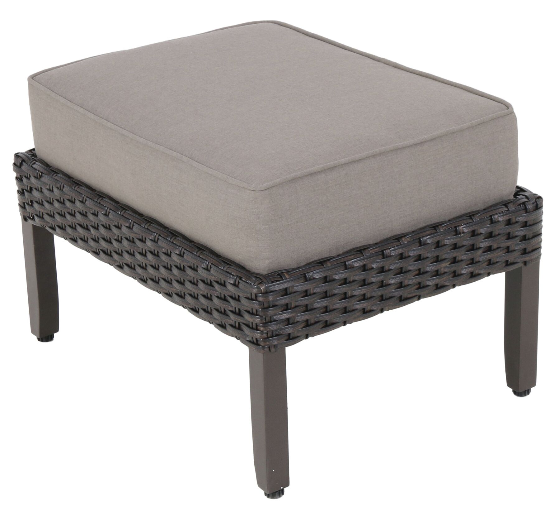 Kanzler Aluminum Outdoor Wicker Ottoman with Cushion (Set of 2) Fabric: Cast Shale