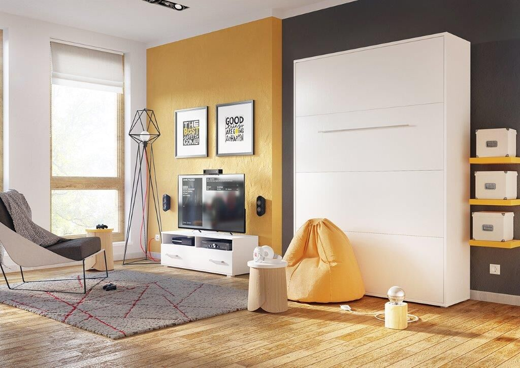 Calvin Queen Murphy Bed with Mattress Color: White Gloss, Size: European Twin XL