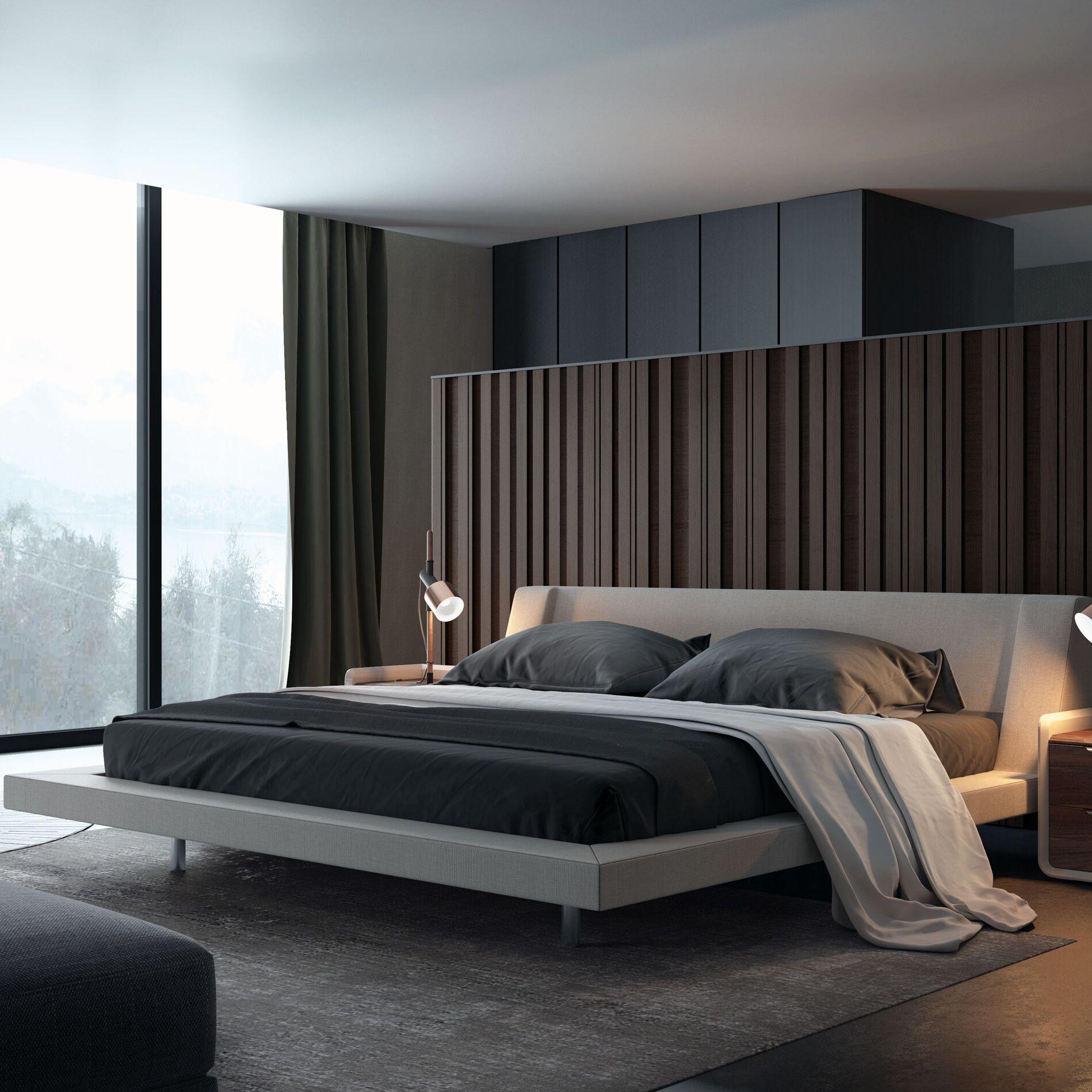 Harper Upholstered Platform Bed Color: Almond-Buff, Size: King
