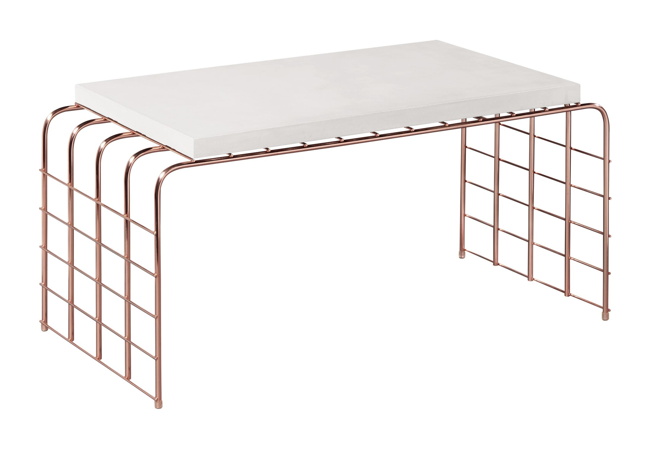 Perpetual Mesh Link Tall Steel Coffee Table Top Finish: Ivory White